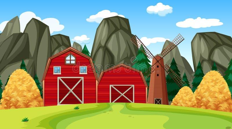 Scena dell'azienda agricola in natura con il granaio royalty illustrazione gratis