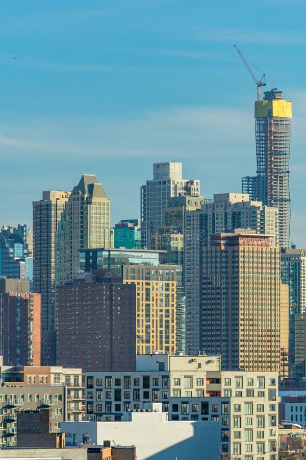 Scena dell'orizzonte di Chicago con i grattacieli e la costruzione immagine stock libera da diritti