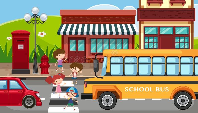Scena della città con i bambini che attraversano la via illustrazione di stock