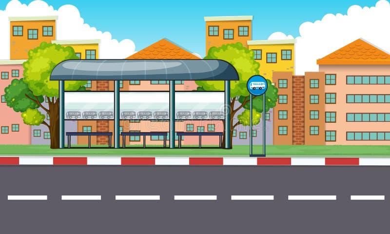 Scena della città con la fermata e le costruzioni dell'autobus illustrazione di stock