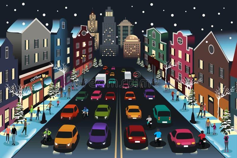 Scena della città con traffico all'illustrazione di notte illustrazione vettoriale