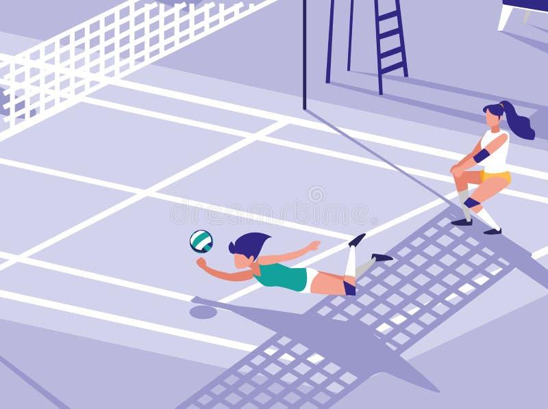 Scena della corte di sport di pallavolo illustrazione vettoriale