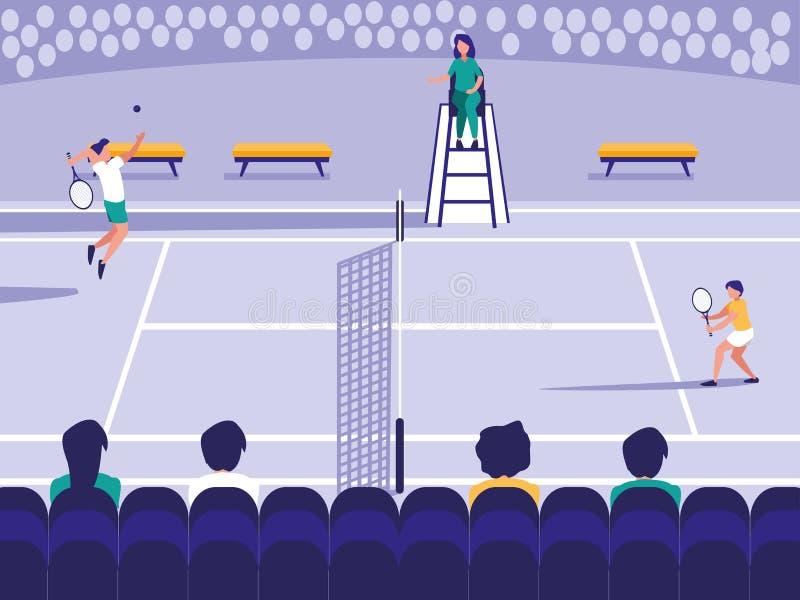 Scena della corte di sport di tennis royalty illustrazione gratis