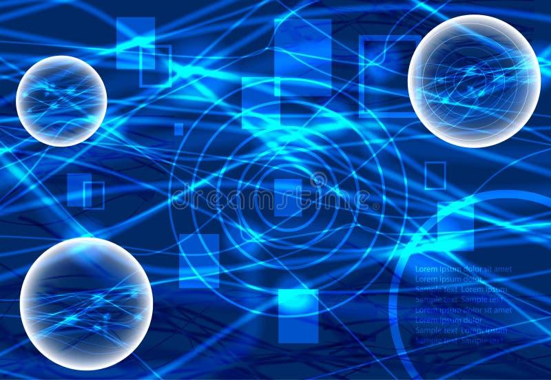 Scena della fantascienza Nuove tecnologie Backgroun blu astratto illustrazione vettoriale
