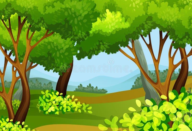 Scena della foresta con gli alberi alti illustrazione vettoriale