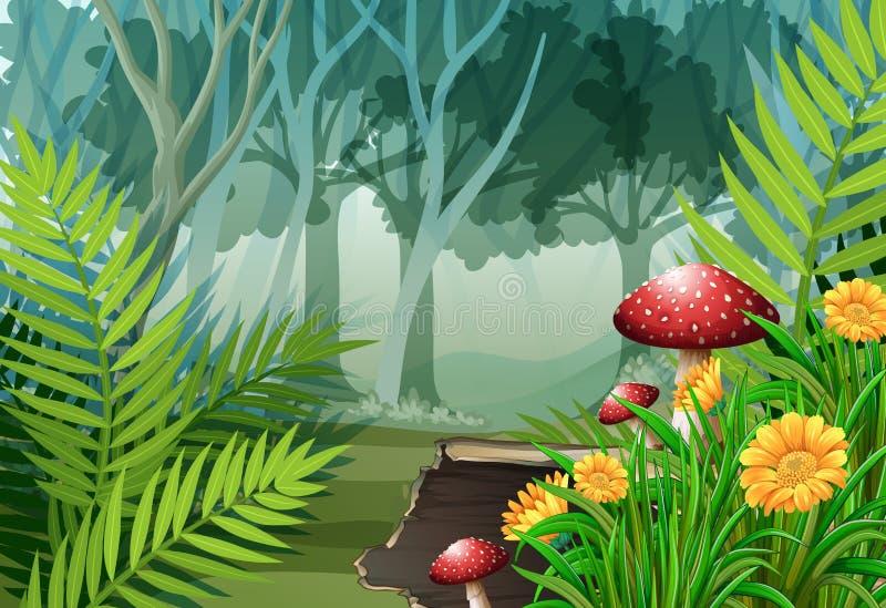 Scena della foresta con gli alberi ed i fiori illustrazione vettoriale