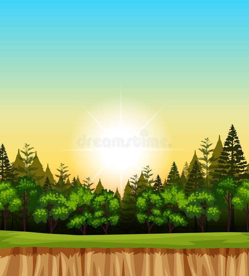 Scena della foresta con gli alberi sulla scogliera royalty illustrazione gratis