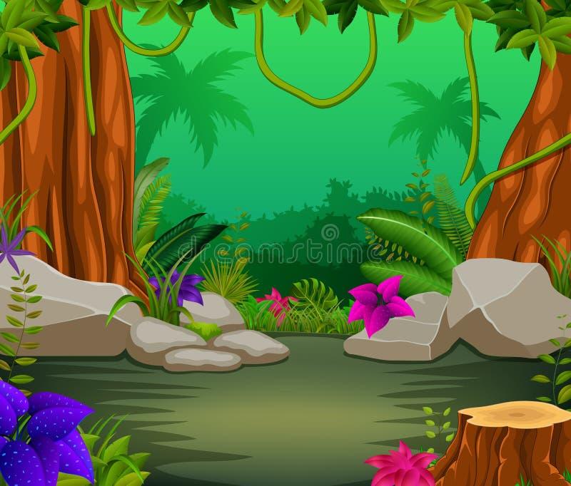 Scena della foresta con i lotti degli alberi illustrazione vettoriale