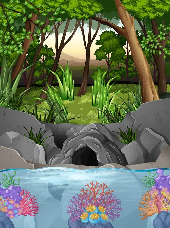 Scena della foresta con la caverna e gli alberi illustrazione vettoriale