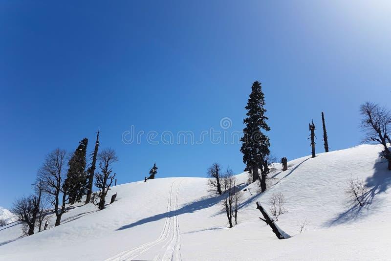 Scena della montagna della neve in Gulmarg, Kashmir fotografia stock