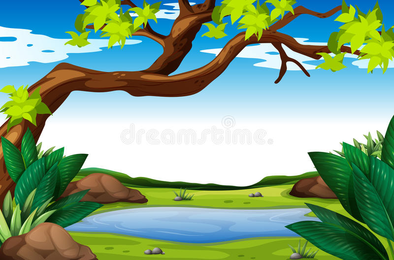 Scena della natura con l'albero e lo stagno illustrazione vettoriale