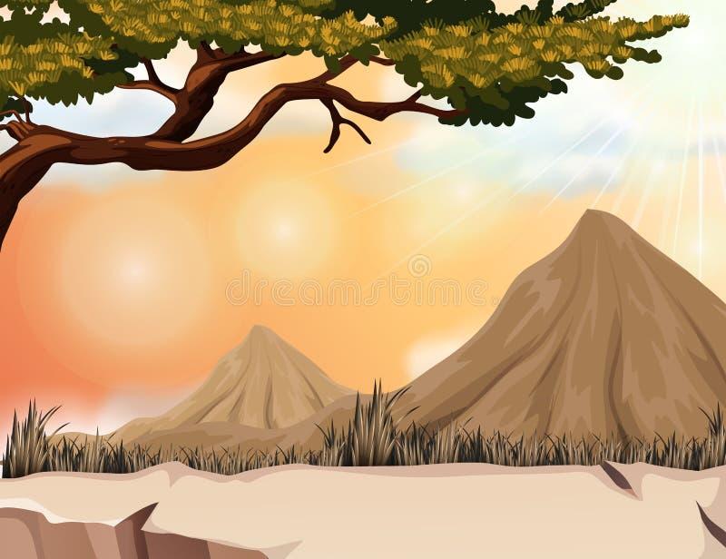 Scena della natura con la montagna e l'albero illustrazione vettoriale