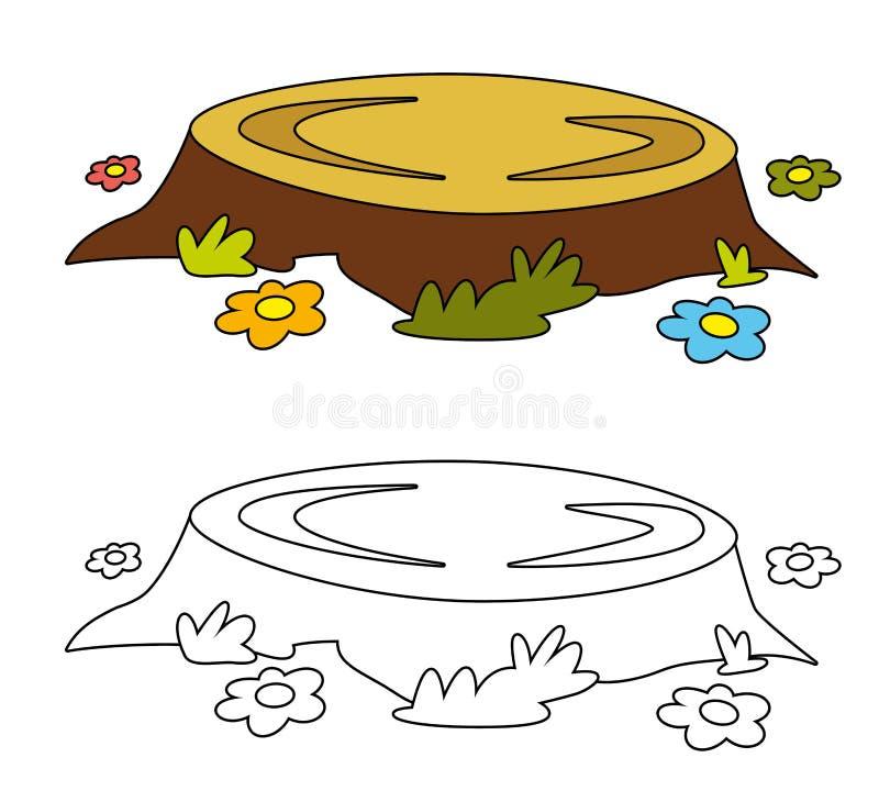 Scena della natura del fumetto dell'elemento tagliato dell'albero - isolato illustrazione vettoriale