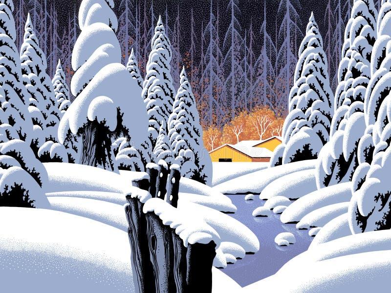 Scena della neve con il granaio illustrazione di stock