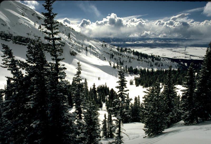 Scena della neve della montagna fotografia stock