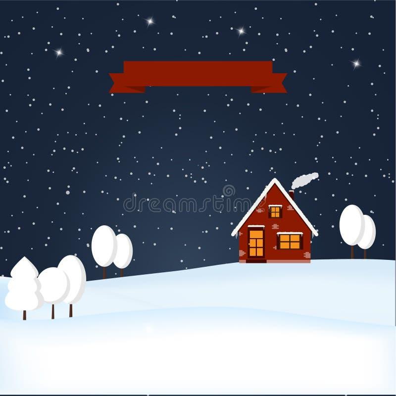 Scena della neve di notte del paese delle meraviglie di inverno di vettore royalty illustrazione gratis