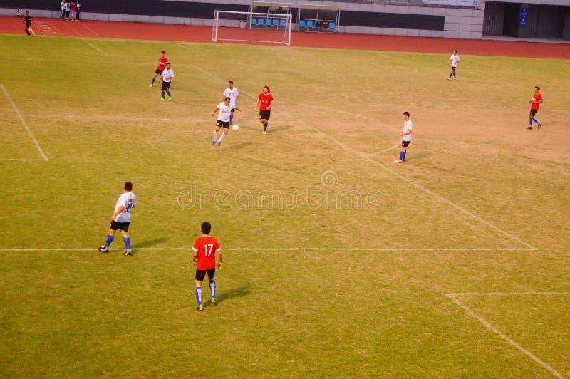 Scena della partita di calcio, a Shenzhen, porcellana fotografia stock libera da diritti