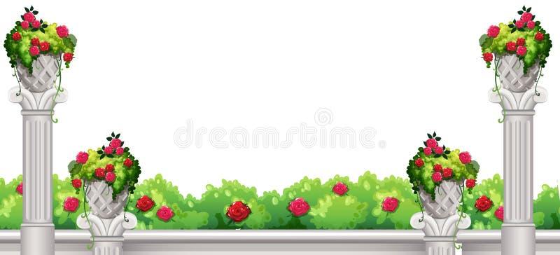 Scena della priorità alta del cespuglio e del fiore illustrazione di stock