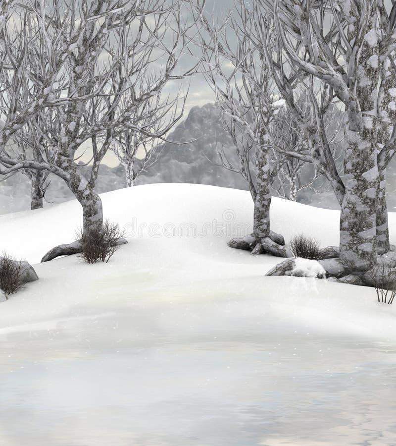 Scena della priorità bassa della foresta di inverno illustrazione di stock