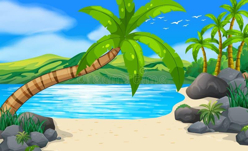 Scena della spiaggia con i cocchi su terra illustrazione di stock