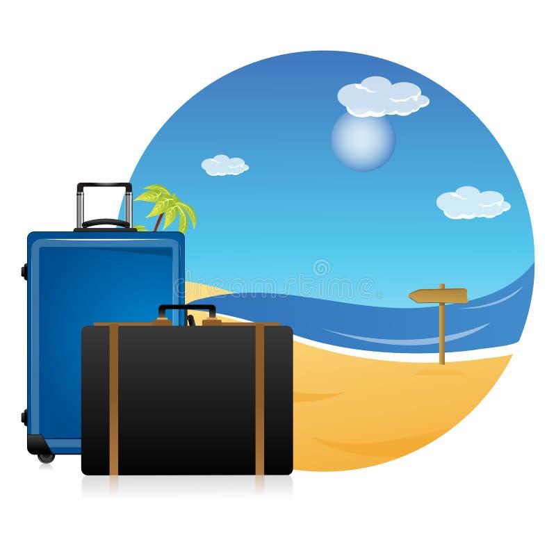 Scena della spiaggia con i sacchetti illustrazione vettoriale