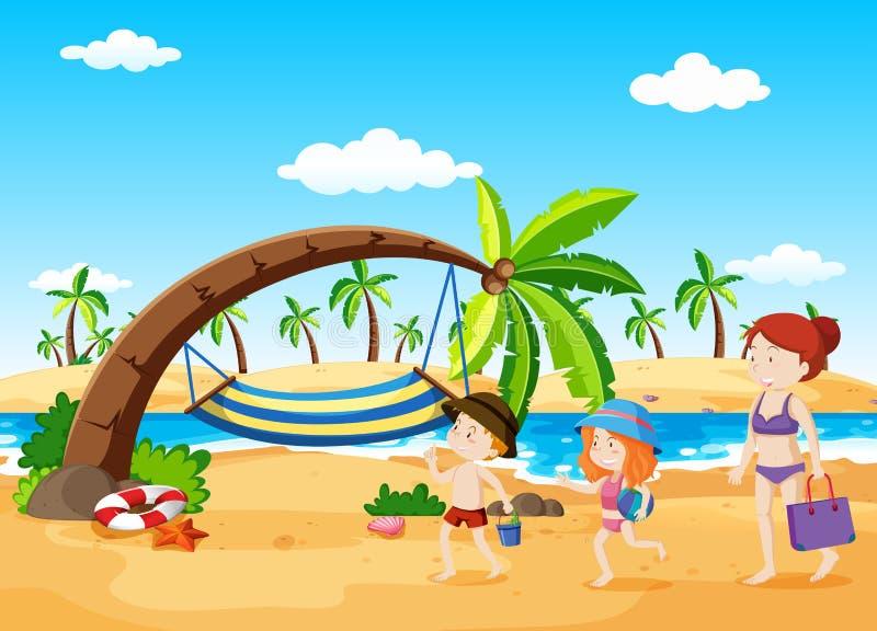 Scena della spiaggia con l'amaca illustrazione di stock