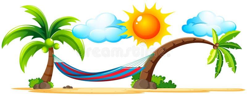 Scena della spiaggia con l'amaca sui cocchi illustrazione di stock