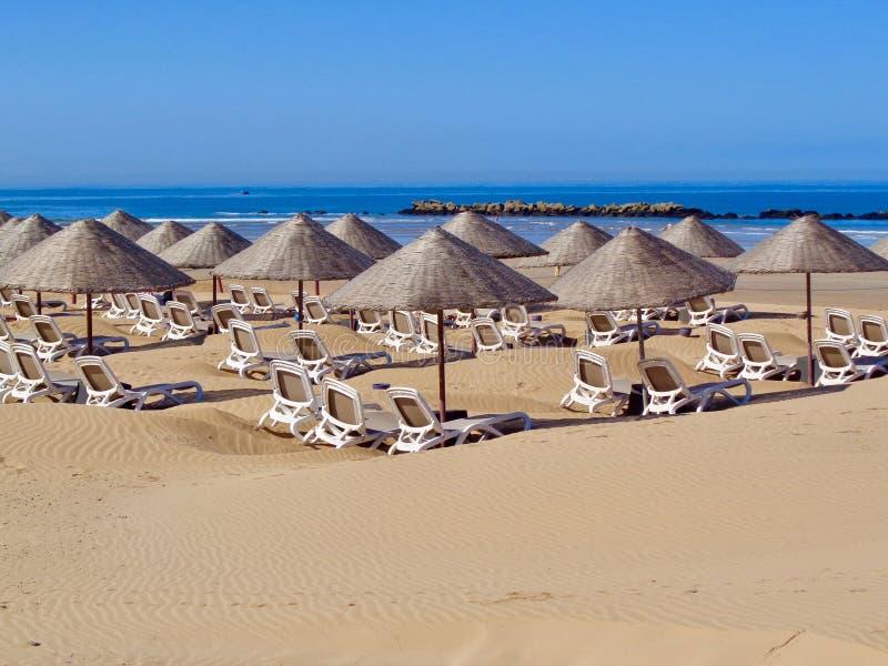 Scena della spiaggia da Agadir, Marocco fotografia stock libera da diritti
