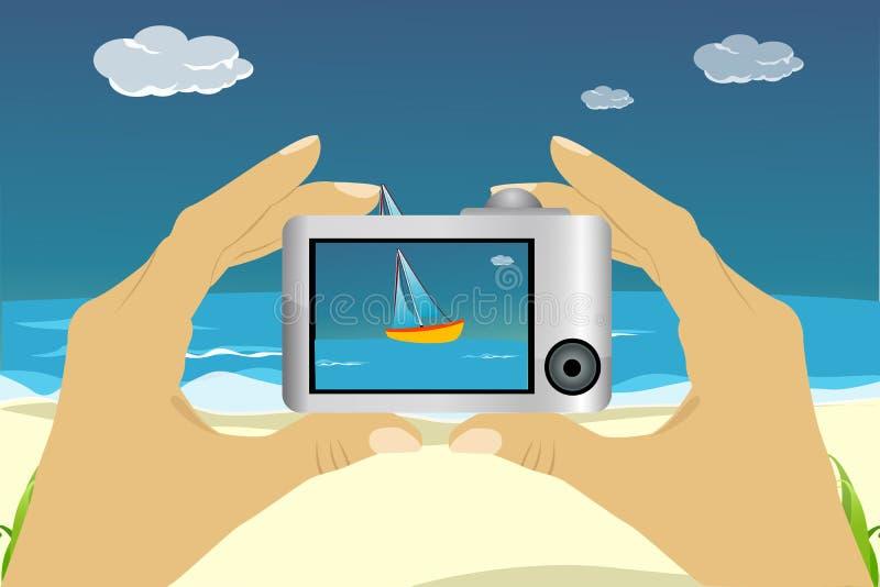Scena della spiaggia in macchina fotografica royalty illustrazione gratis