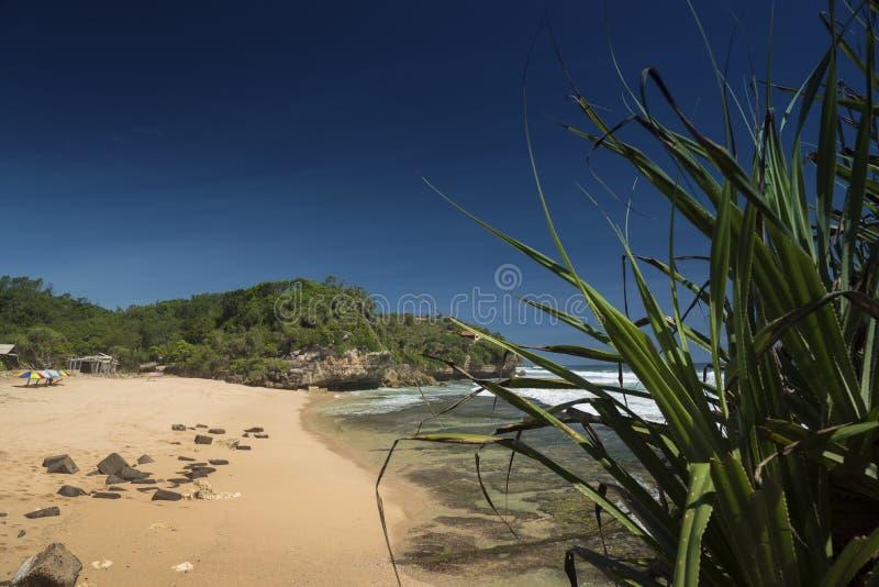 Scena della spiaggia Pulang Sawai, Wonosari, Java, Indonesia fotografie stock