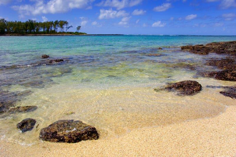 Scena della spiaggia su un'isola dell'Oceano Indiano fotografia stock libera da diritti