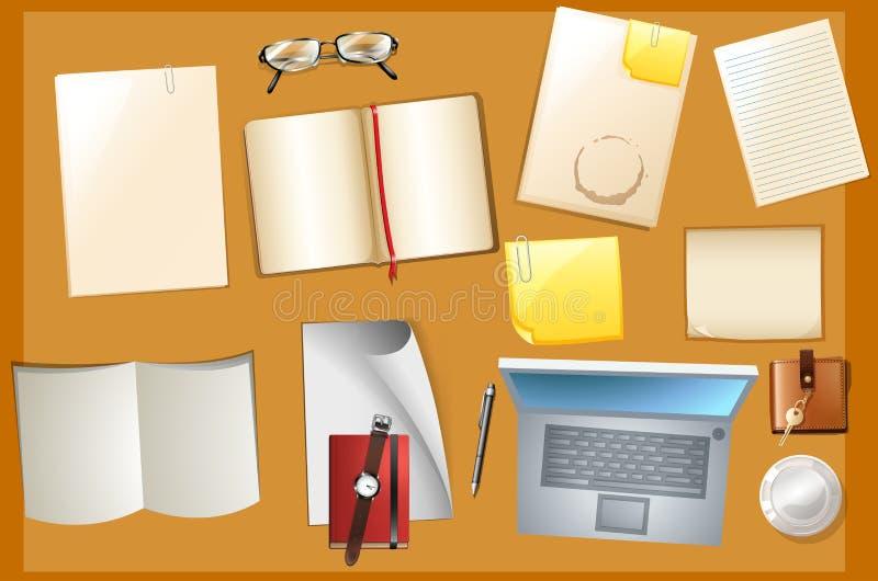 Scena della Tabella con i libri ed il computer royalty illustrazione gratis