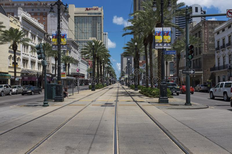 Scena della via al Canal Street nella città della città di New Orleans, Luisiana fotografia stock