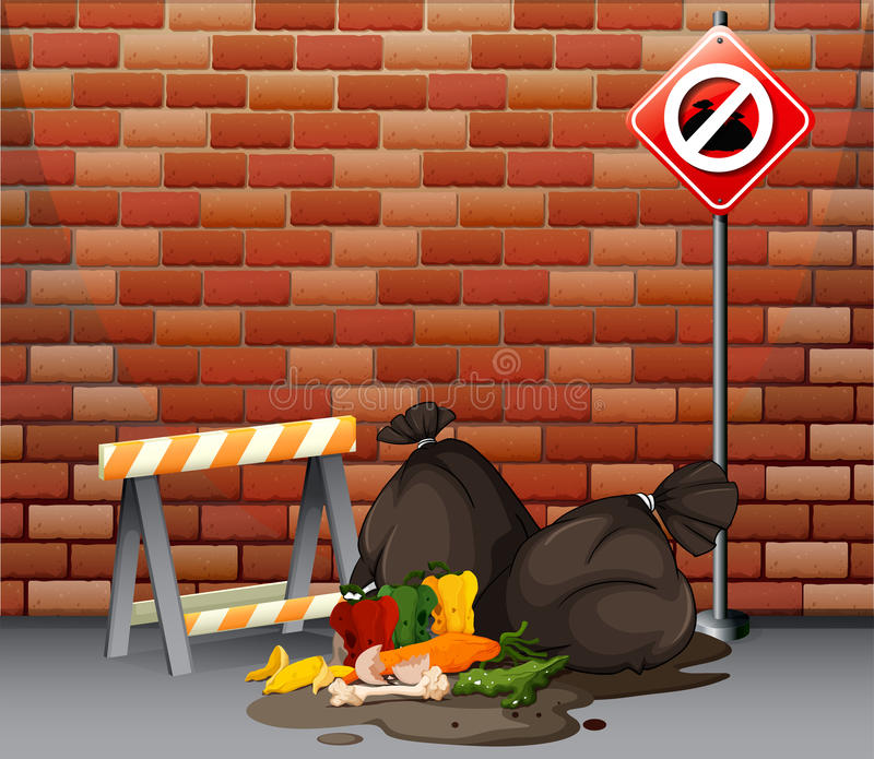 Scena della via con rifiuti sporchi sul pavimento illustrazione di stock