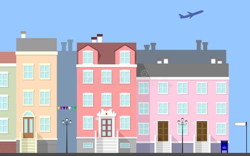 Scena della via della città [1] royalty illustrazione gratis