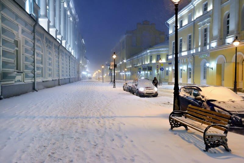 Scena della via di inverno di Mosca, Russia fotografia stock libera da diritti
