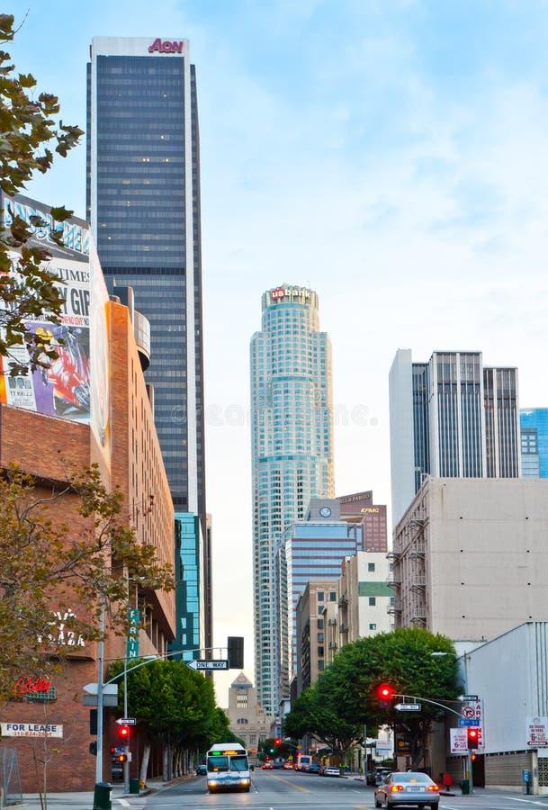 Scena della via di Los Angeles subito dopo l'alba immagini stock
