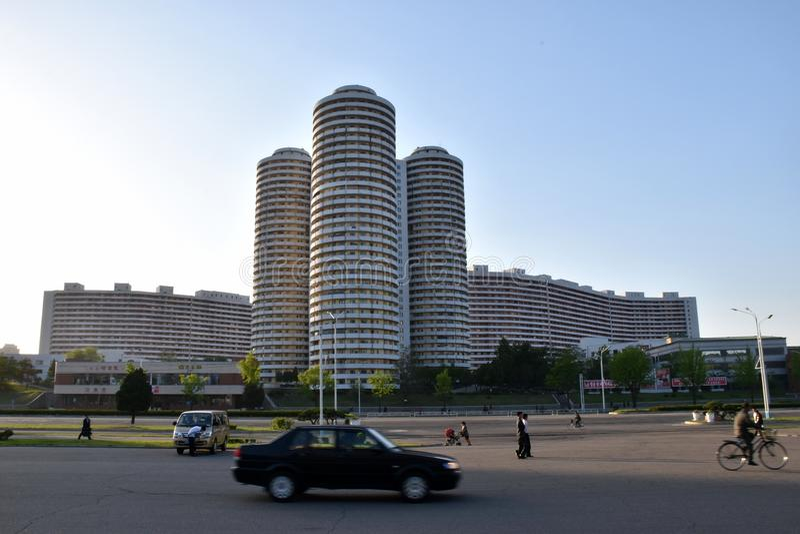 Scena della via di Pyongyang della città della Corea del Nord fotografia stock