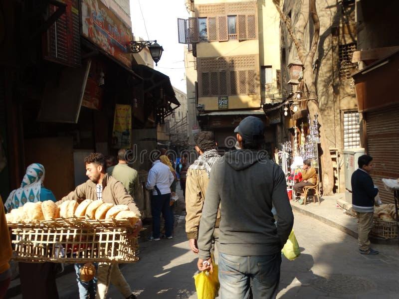 Scena della via di vecchio Il Cairo, Egitto immagine stock libera da diritti