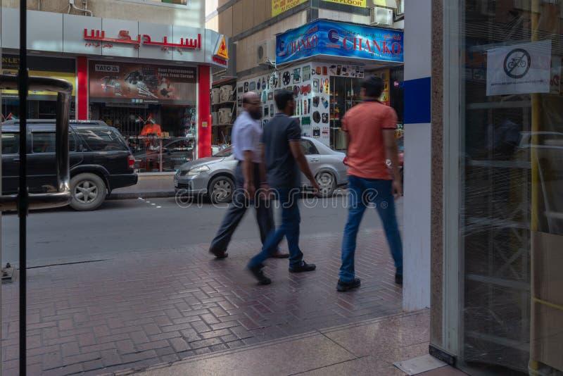 Scena della via nel distretto di Deira, Dubai fotografie stock libere da diritti
