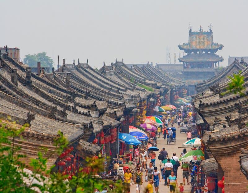 Scena della via in Pingyao in Cina fotografie stock libere da diritti
