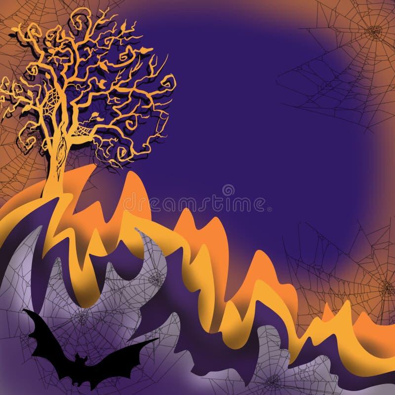 Scena delle ragnatele di sovrapposizione del layersmm di colore, pipistrello, albero terrificante, spazio di caduta di Halloween  illustrazione vettoriale