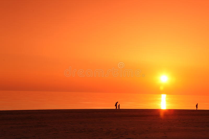 Scena dello scape del mare tramonto nell'oceano, oceano della spiaggia immagine stock libera da diritti