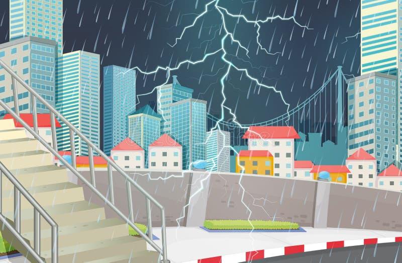 Scena dello scape della città della tempesta illustrazione vettoriale