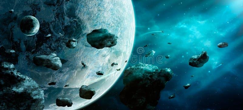 Scena dello spazio Nebulosa blu con le asteroidi ed il pianeta due elementi fotografia stock