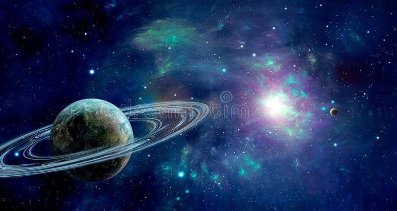 Scena dello spazio Nebulosa variopinta blu con due pianeti Pelliccia degli elementi illustrazione di stock