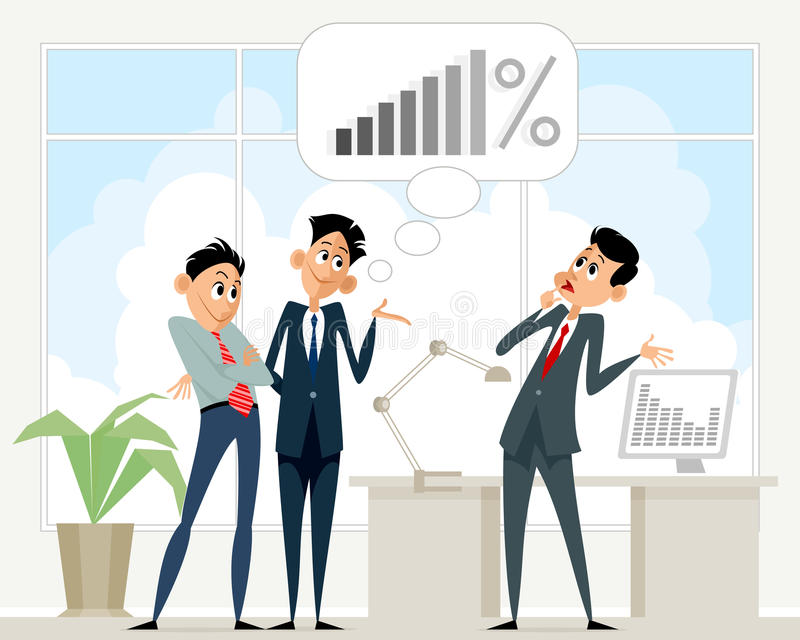 Scena di affari in ufficio illustrazione di stock