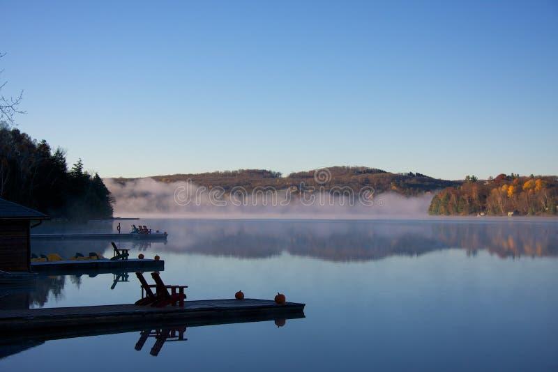 Scena di autunno con nebbia fotografia stock libera da diritti