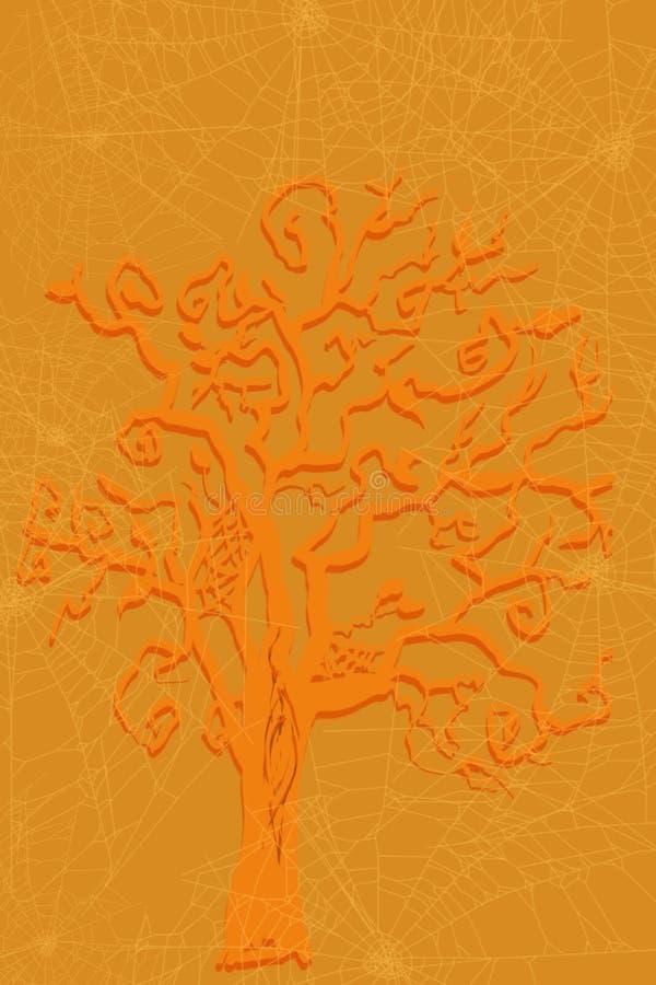 Scena di caduta e di Halloween dell'albero spettrale con colore stagionale di autum in oro ed in arancia illustrazione di stock