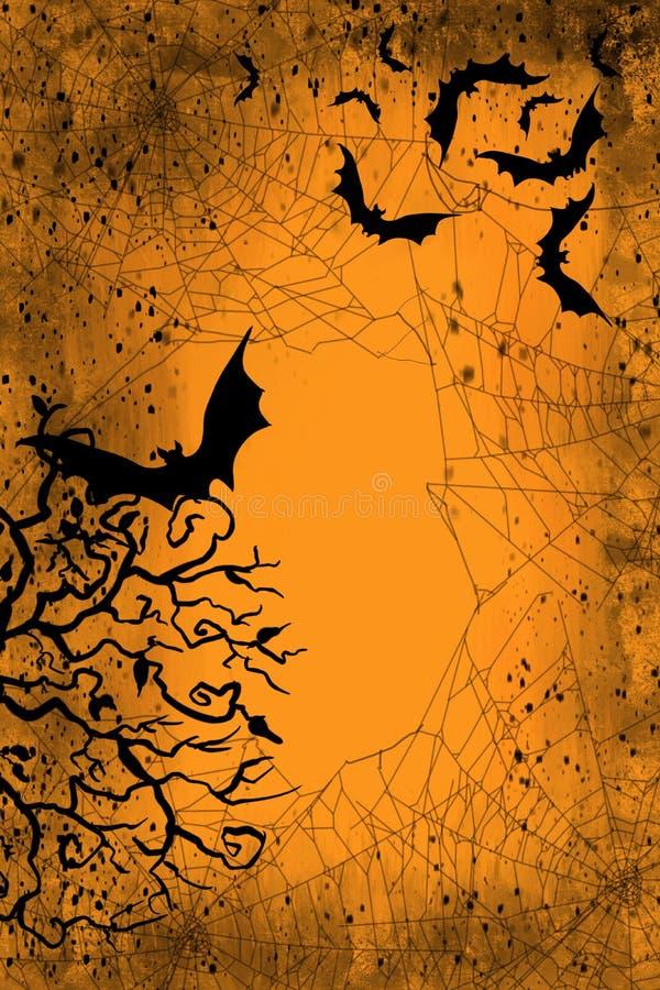 Scena di caduta e di Halloween delle ragnatele spettrali e dei pipistrelli di volo, con colore stagionale di autum in oro ed in a illustrazione di stock